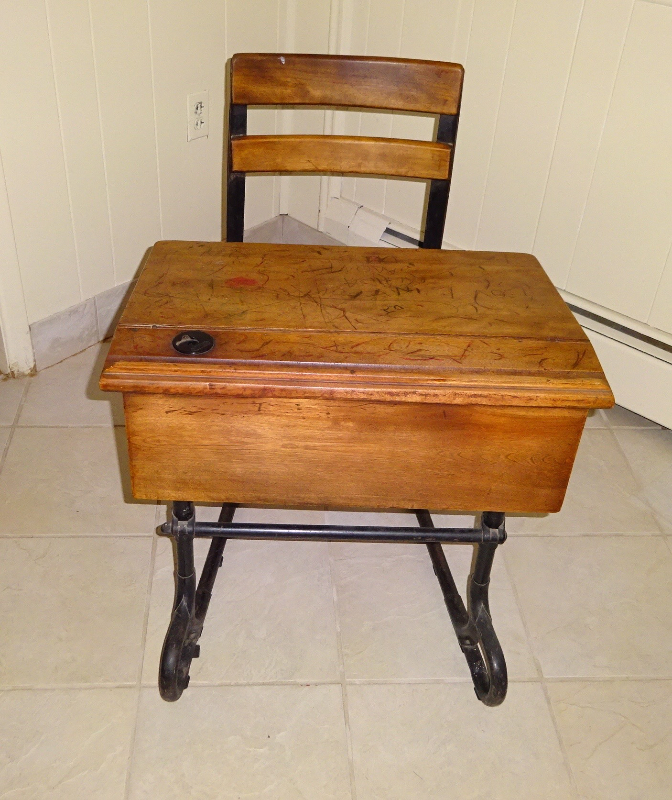 - Antique School Desk With Inkwell